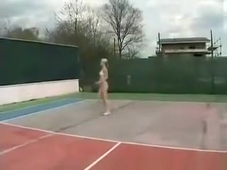 Blonde Tennis Players Ends Sucking Her Trainers Dick Giant melons fetish