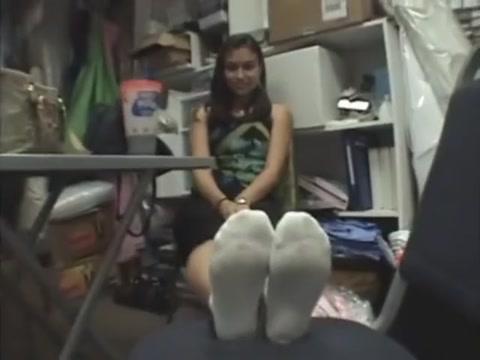 Small Mexican Feet Lesbians kissing while their friend sees