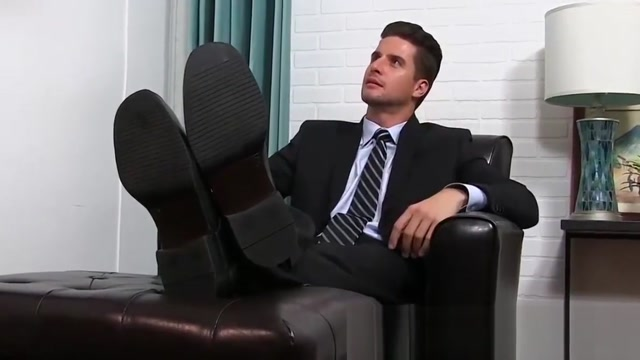 Classy jock in the suit getting his feet licked by a bearded Sexy girls no porn