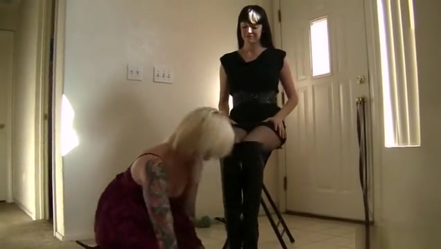 Mistress invites her slave bitch to lick her boots
