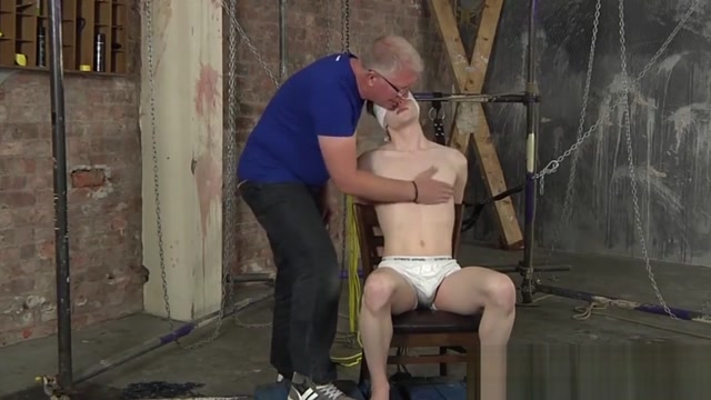 Roped up twink gets painful cum launching handjob by Master Tranny Big Dick Movies