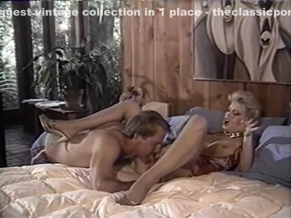 Amber Lynn, Tracey Adams, Herschel Savage in vintage sex scene College gril threesome