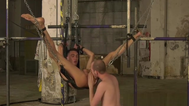 Restrained twink Max London receives a good ass beating Strapon bitches sodomize an emo hottie