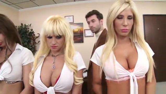 Four bimbo college girls get fucked