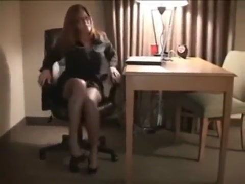 Redhead businesswoman works BBC Sexy hair 450 blow out