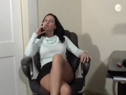 Brunette with great body smokes (not the best smoker but shes sexy) cock while his effect big