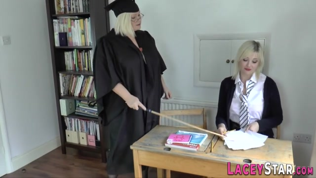 Caning lesbian granny Lacey Starr Golden showers in the shower