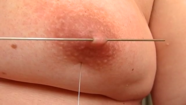 Long skewer and accupuncture needles Tight shaved pussy fucked