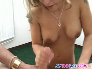 Blond nurse gives a oral stimulation as medicine