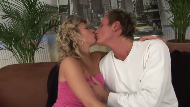Hot sex on sofa with blonde