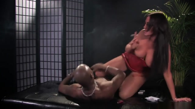 Hot Babe in Red Smokes and Fucks a BBC-part 2