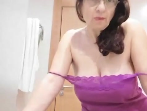 Granny cam 2 Tiny tits playgirl makes show in darksome hose