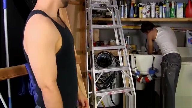 Horny hairy hunk slams hot jocks tight asshole in the garage fitness model loves big black dick abigail mac