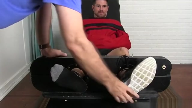 Bearded hunk tickled by a mature deviant while being bound Young naked by the pool
