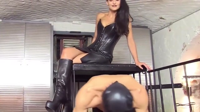 Caged bootlicker naked girl in the wood