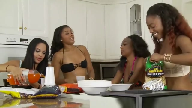 Four black lesbians fuck