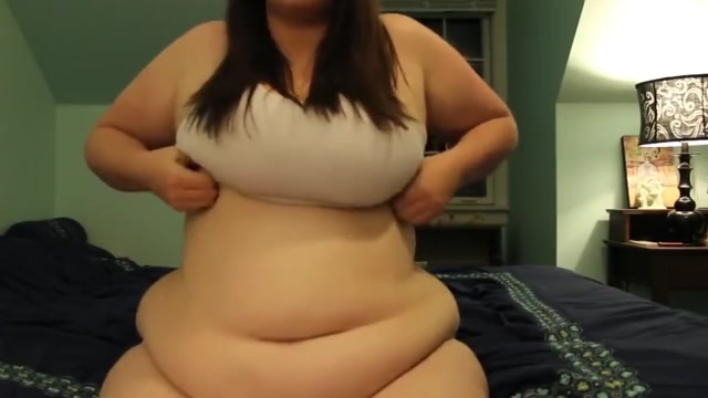 BBW with amazing tits plays with her belly
