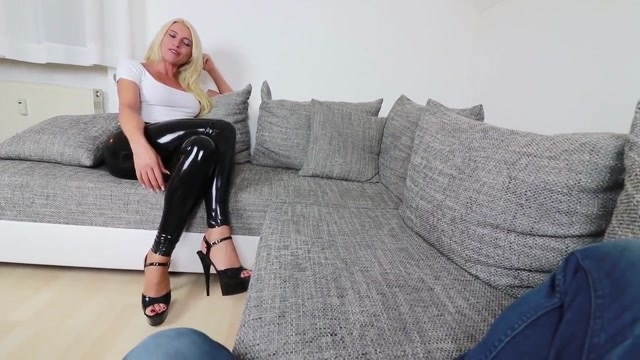 Sexy German in Latex Leggings uses her Strapon Shinermilf sucking cock 1