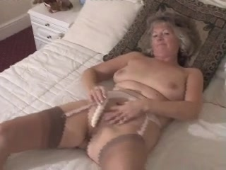 Delightsome Granny Toying In Fully Fashioned Nylons