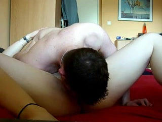 Russian husband pleasing wifes shaved vagina