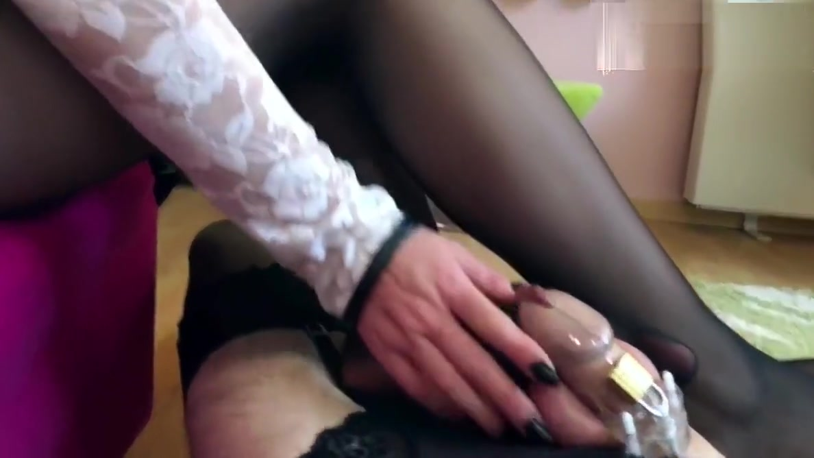 Sissy trapped in chastity and stockings