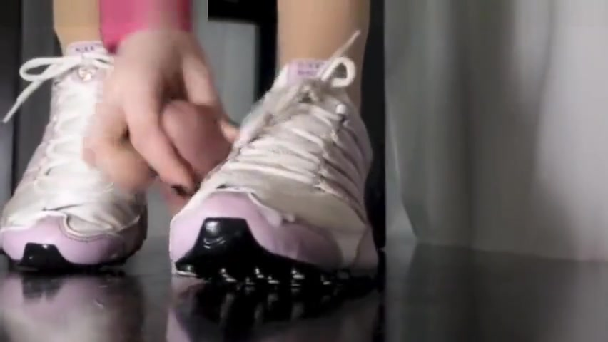 Cumpilation under sneakers Asian hair style woman