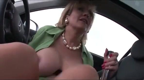 Busty English wife car play