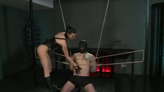 Tied Up Guy With Gimp Mask Gets Blowjob From Mistress Hentai sex game 3d