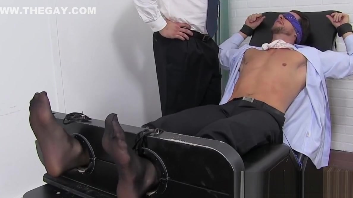 Blindfolded and restrained stud receives hard tickling Pure filthy sex