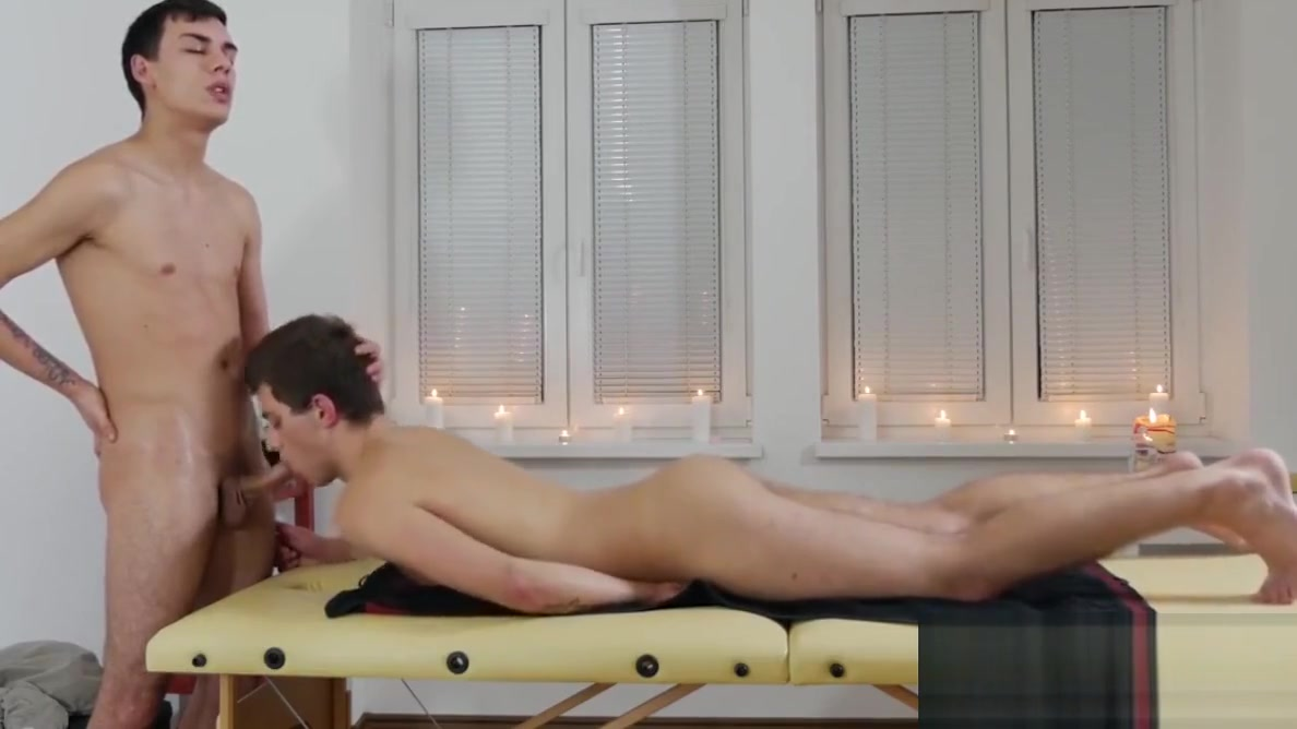 Cute slender twink has bareback sex on the massage table black booty porn free