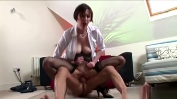 Mature Stockings Bouncing On Cock With Her Tight Pussy
