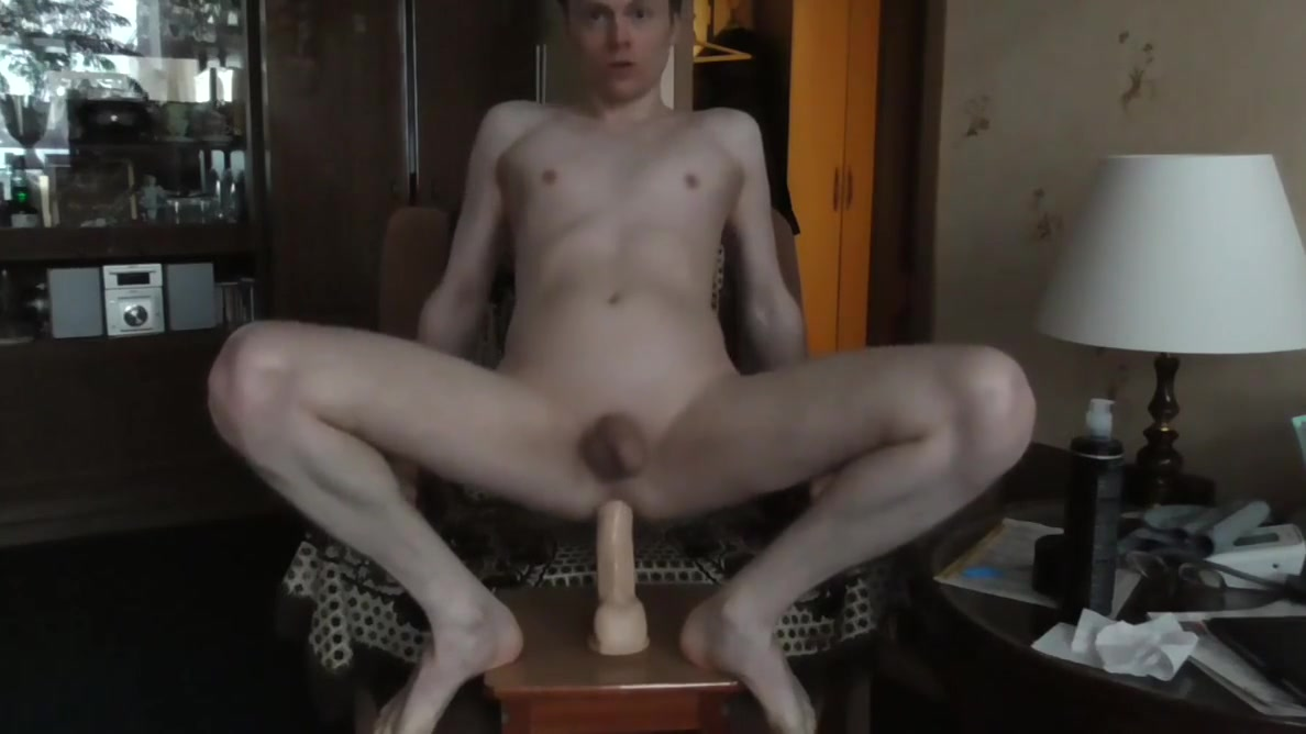 Anal gay slut playing with big dildo. Some outdoor action. Forced femdom ballbusting