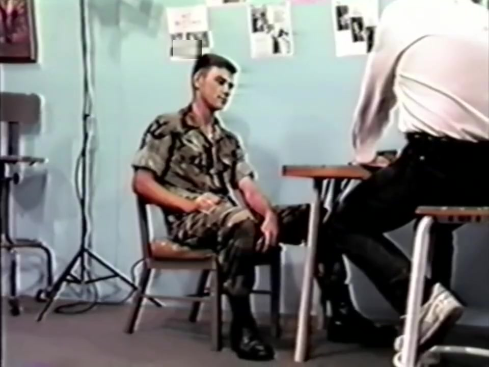 21 Y.O. USMC Mark has a bare bottom hairbrush interview OTK. Hot milf fucks 2 guys