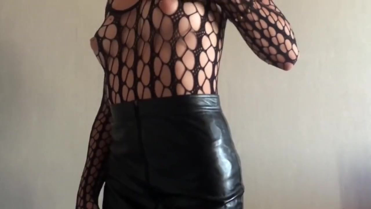 First time TEEN Masturbating real orgasm in fishnet bodysuit leather skirt pierced cocks in porn