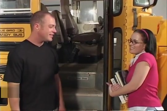 Sascha Gets Her Bald Pussy Fucked Outside Schoolbus
