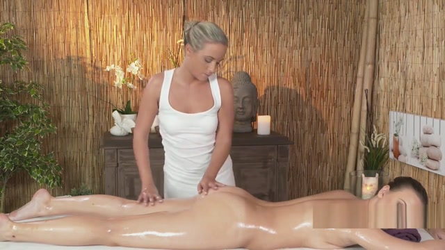 Tight brunette gets massage