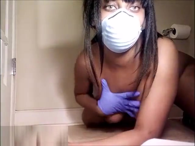 thick ebony masturbates with goggles, medical mask and latex gloves Tube wife strip webcam