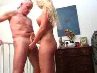German Teen Handjob for NOT her Grandpa