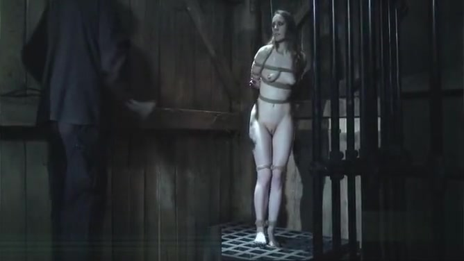 Dungeon BDSM Slave Chained in a Hole Sexy legs and ass