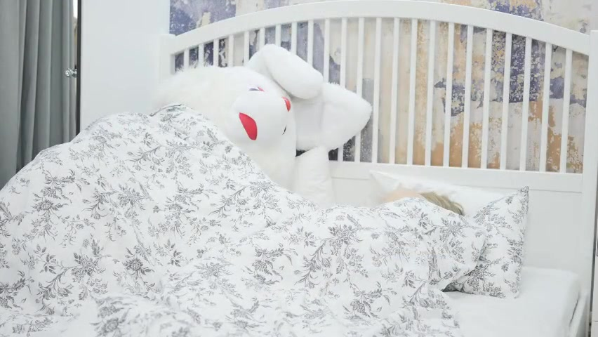 Young teen girl having morning sex with plush toy Jack, Jizz Sofa French