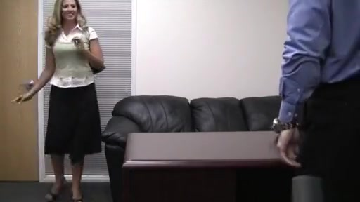 Raunchy blonde in fake casting