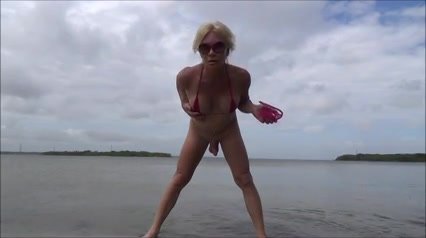 sissy slut in the beach with C string and rosebud character dragonball naked z