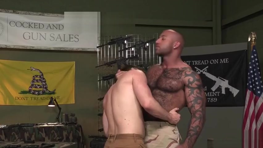 Muscle bear interracial and cumshot neat sex in love making video