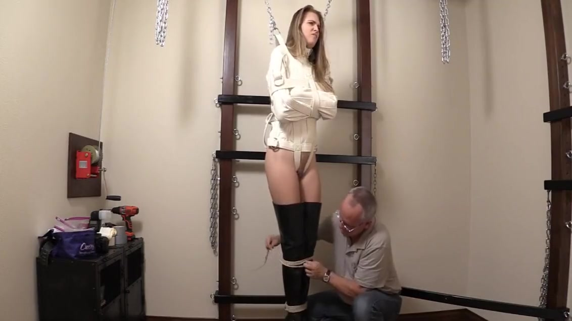 ashley med tape over ballgag suspended in SJ Femdom handjob forced